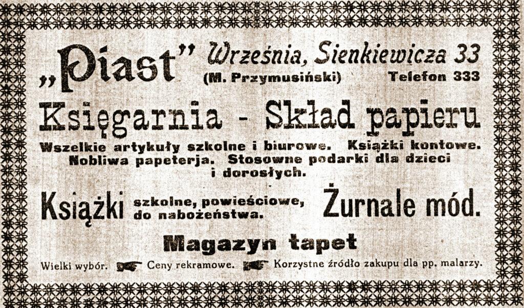 """Mieczysław Przymusiński - reklama z """"Pamiętnika Towarzystwa Przemysłowego we Wrześni"""""""