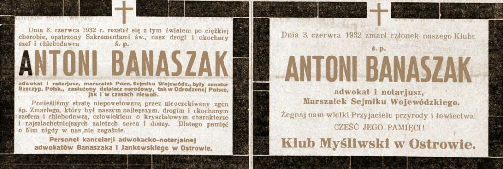 Antoni Banaszak - Orędownik Ostrowski z dnia 07.06.1932 r.