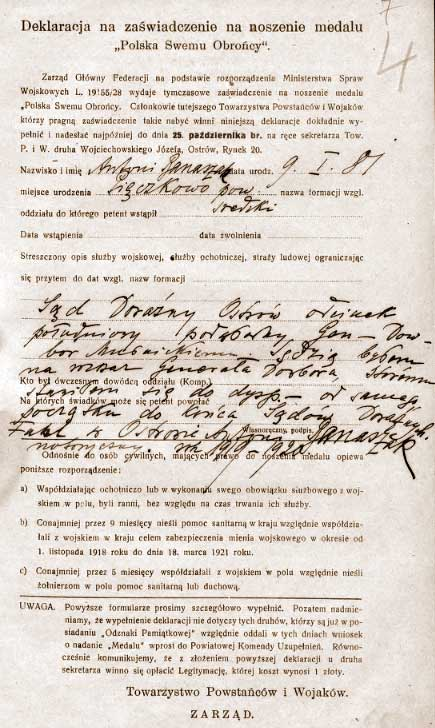Antoni Banaszak - deklaracja do medalu Polska Swojemu Obrońcy c.d.
