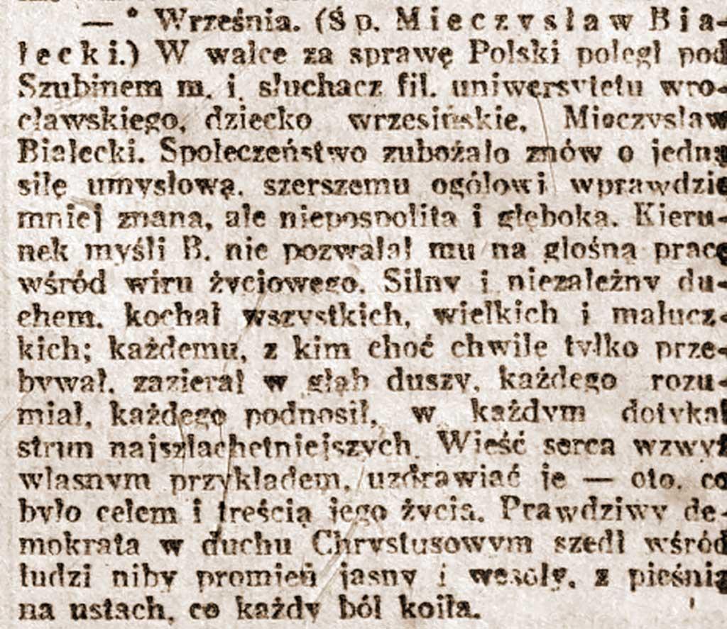 Mieczysław Białecki - Kurier Poznański a dnia  04.02.1919 nr 28