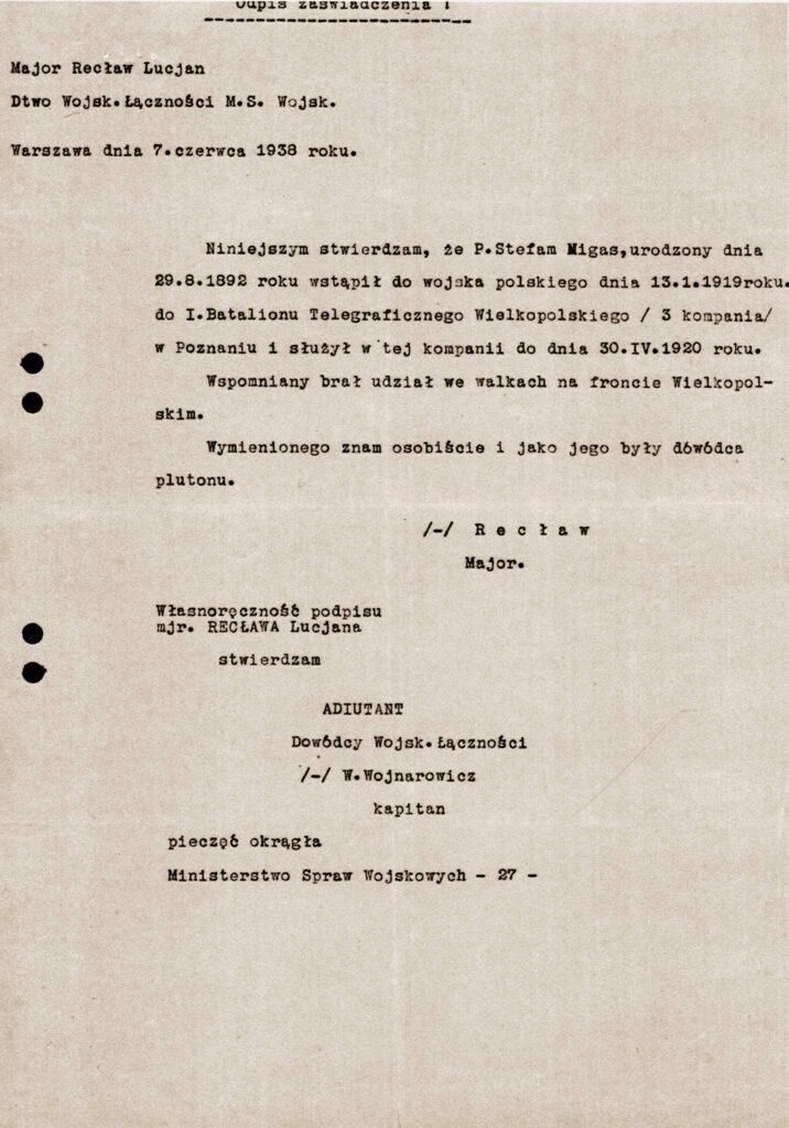 Stefan Migas (dokument udostępnił Remigiusz Maćkowiak)