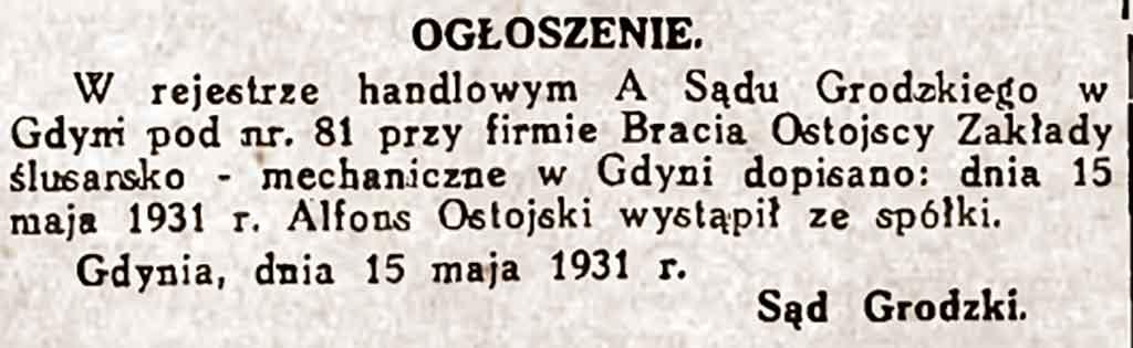 Wacław Ostojski - Dzień Pomorski nr 132 z 12.06.1931