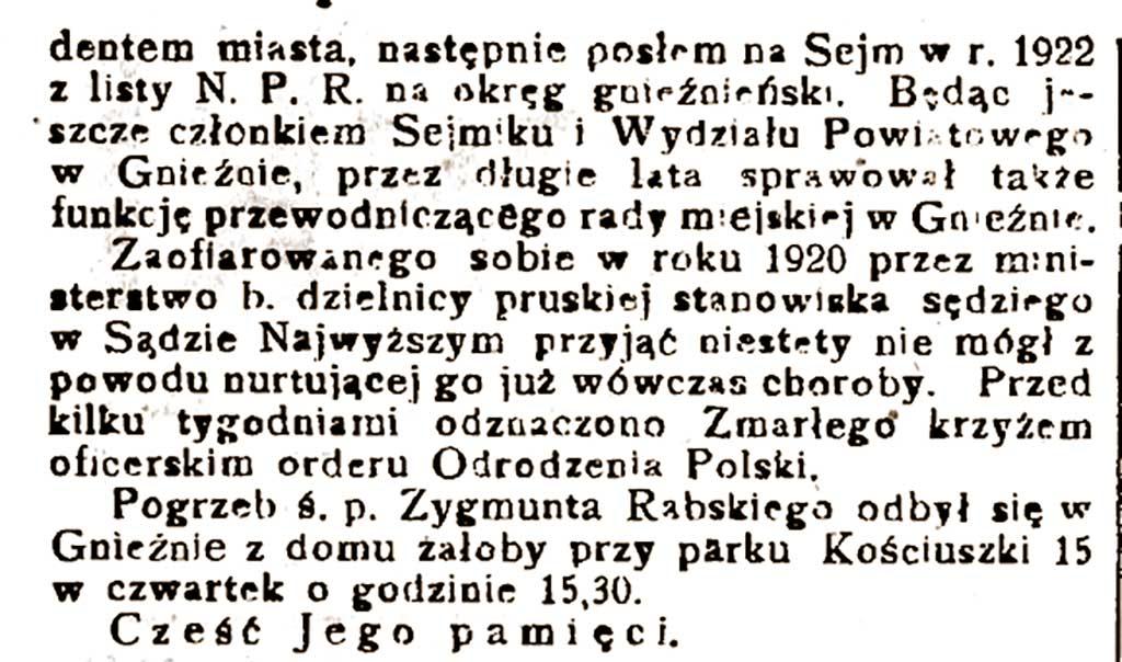 Zygmunt Rabski - Orędownik Wrzesiński nr 24 z 01.03.1930 r.