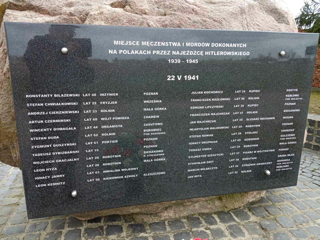 Franciszek Majchrzak - tablica poświęcona zamordowanym przez Niemców w czasie II Wojny Światowej (zdjęcie udostępnił Remigiusz Maćkowiak)