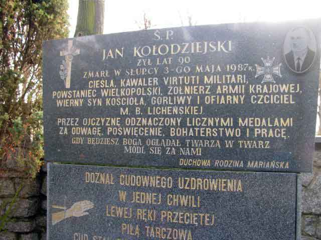 Jan Kołodziejski - cmentarz parafialny w Licheniu Starym