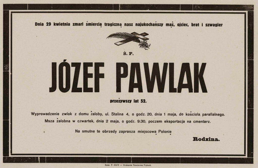 Józef Pawlak - nekrolog