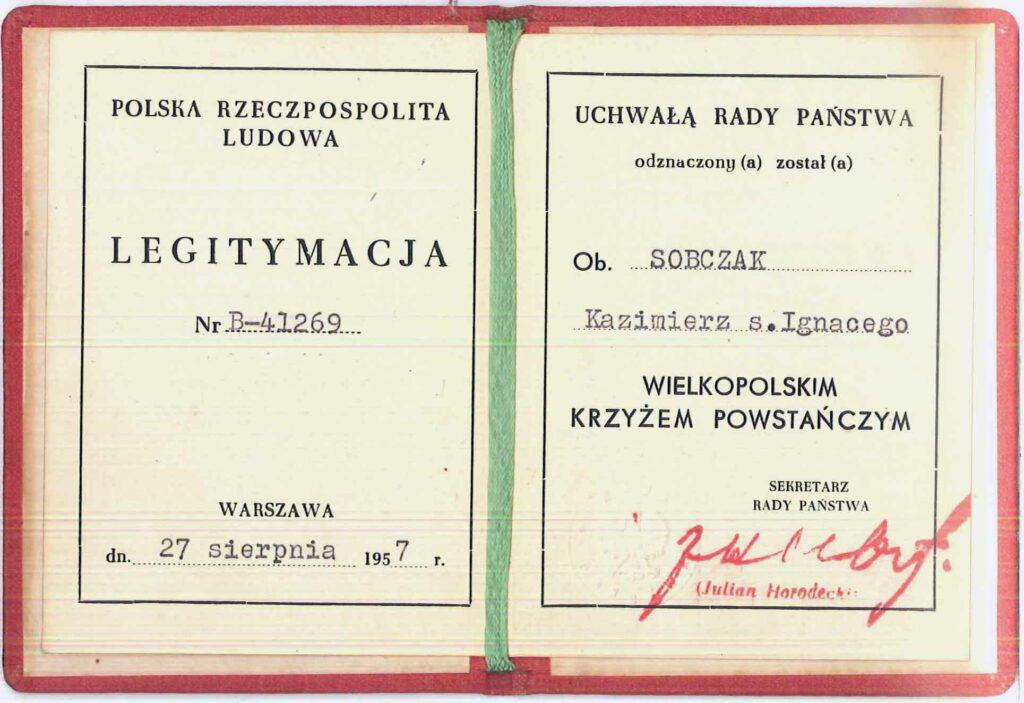 Kazimierz Sobczak (dokument udostępnił Piotr Janiak)