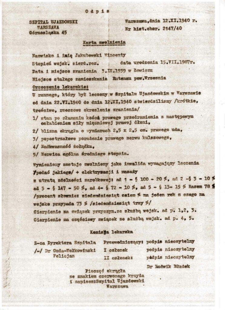 Wincenty Jakubowski - wypis zwolnienia ze szpitala z 1940 roku po kampanii wrześniowej (dokument udostępnił Tomasz Jakubowski)