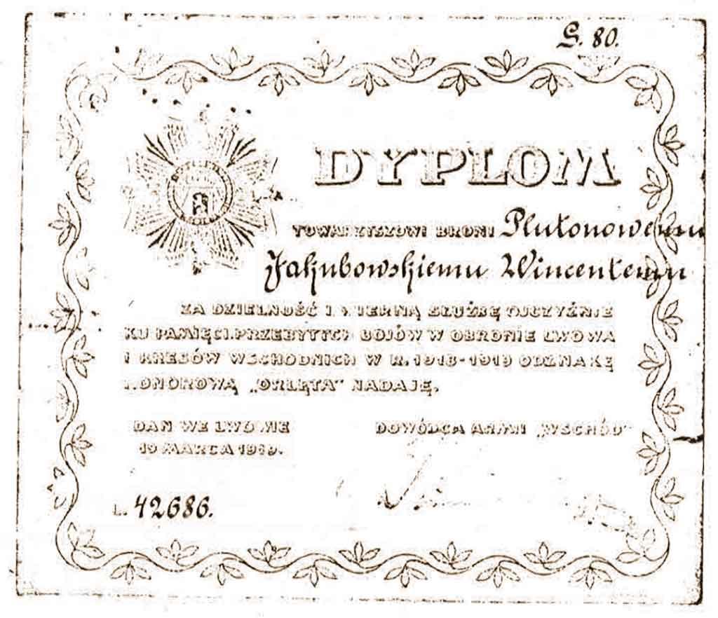 """Wincenty Jakubowski - dyplom nadania odznaki honorowej """"Orlęta"""" (dokument udostępnił Tomasz Jakubowski)"""