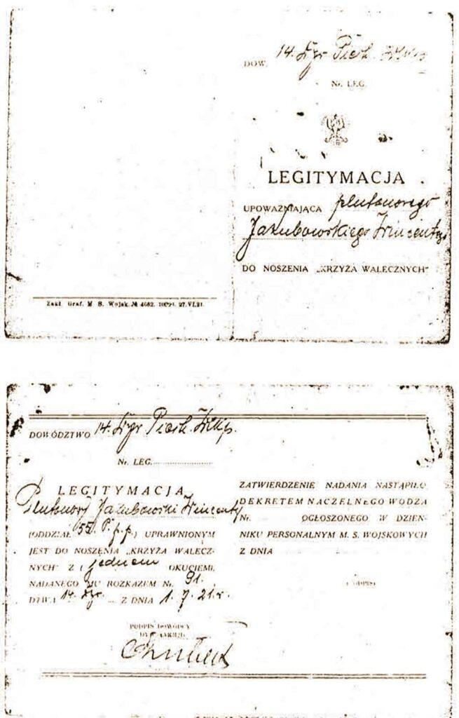 Wincenty Jakubowski - Legitymacja Krzyża Walecznych (dokument udostępnił Tomasz Jakubowski)