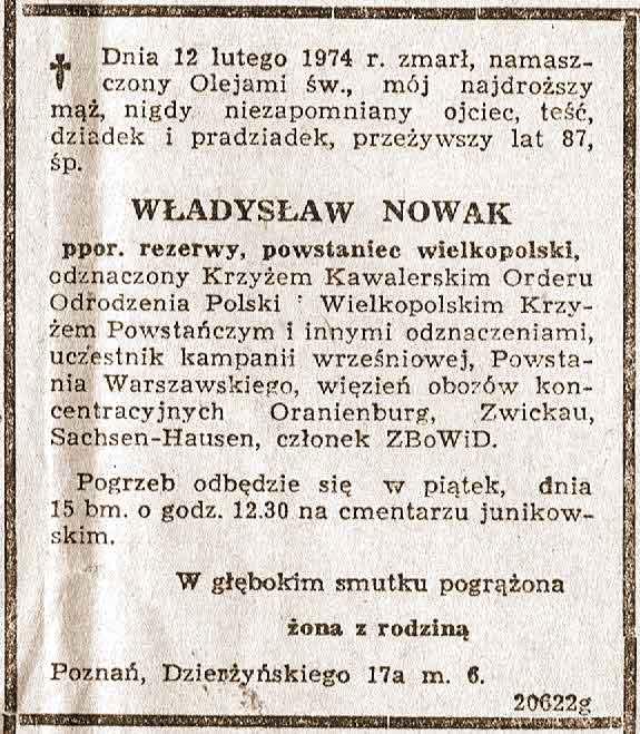 Władysław Nowak - nekrolog