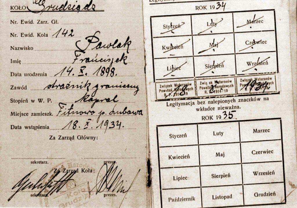 Franciszek Pawlak (dokument udostępnił Remigiusz Maćkowiak)