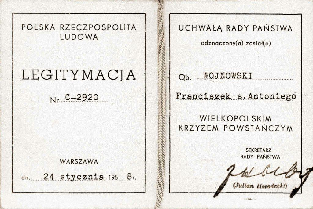 Franciszek Wojnowski (dokument udostępnił Remigiusz Maćkowiak)