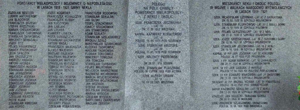 Tablica upamiętniająca powstańców wielkopolskich z Nekli i okolic (zdjęcie udostępnił Remigiusz Maćkowiak)