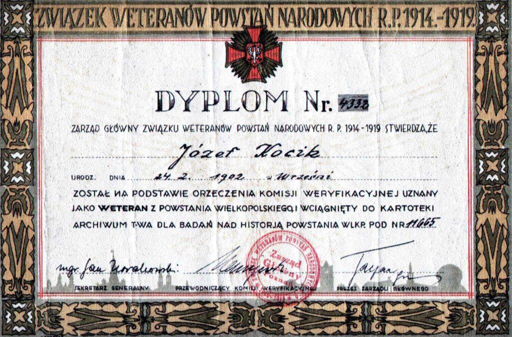 Józef Kocik (dokument udostępnił Remigiusz Maćkowiak)