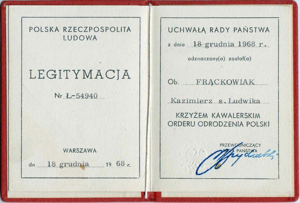 Kazimierz Frąckowiak  (dokument udostępnił Bogdan Jarosz)