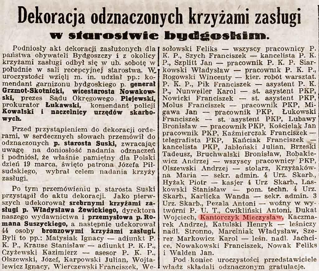 Mieczysław Kantorczyk - Dziennik Bydgoski nr 66 z 22.03.1938 r.