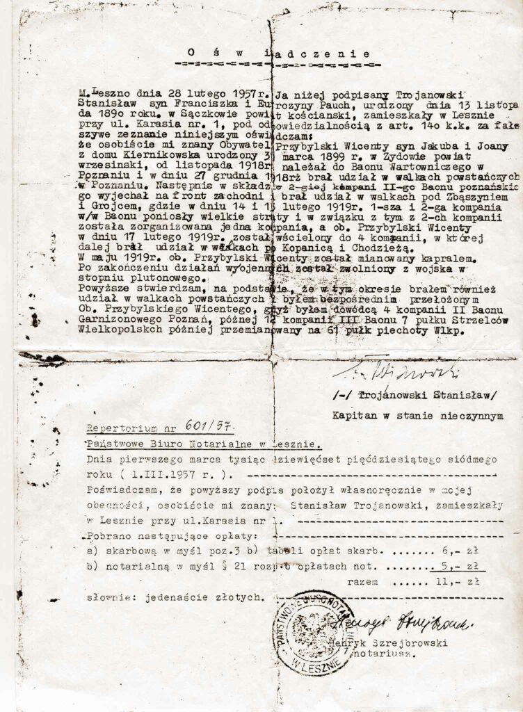 Wincenty Przybylski (dokument udostępnił Remigiusz Maćkowiak)
