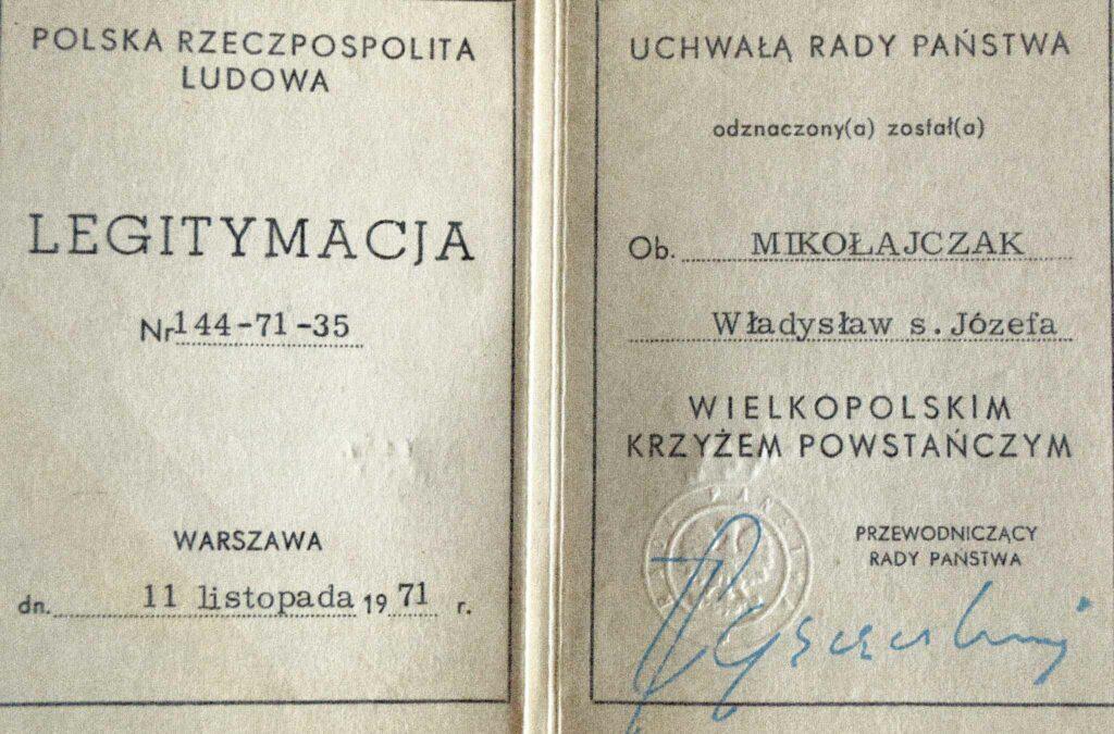 Władysław Mikołajczak   (dokument udostępnił Remigiusz Maćkowiak)