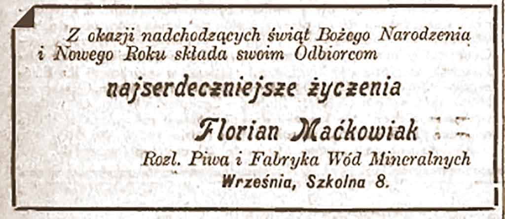 Florian Maćkowiak - Orędownik Wrzesiński nr 148 z 24.12.1938 r.