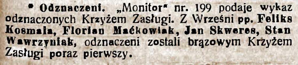 Florian Maćkowiak - Orędownik Wrzesiński nr 103 z 08.09.1938 r.