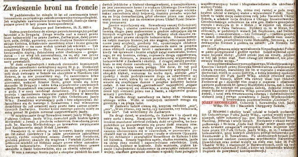 Józef Skonieczny - Orędownik Wrzesiński nr 129 z 08.11.1930 r.