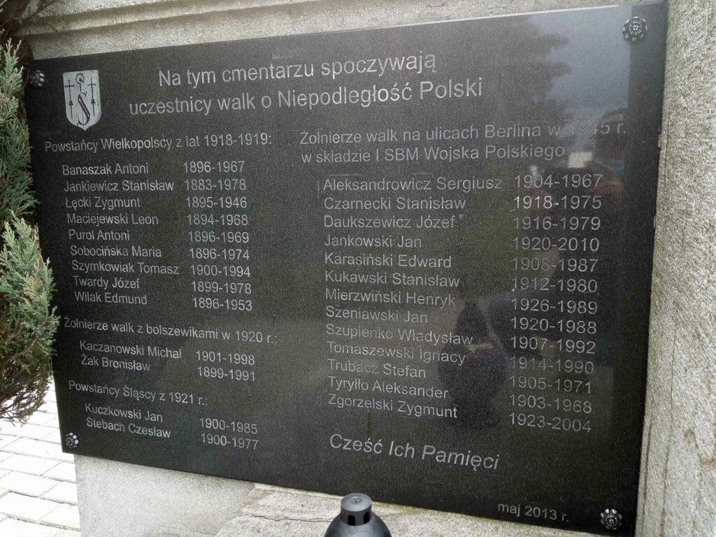 Strzałkowo - pamiątkowa tablica na cmentarzu parafialnym