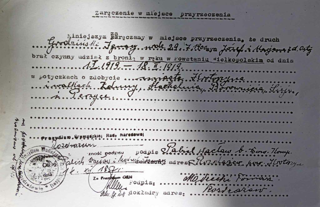 Ignacy Grodziński (dokument udostępnił Remigiusz Maćkowiak)