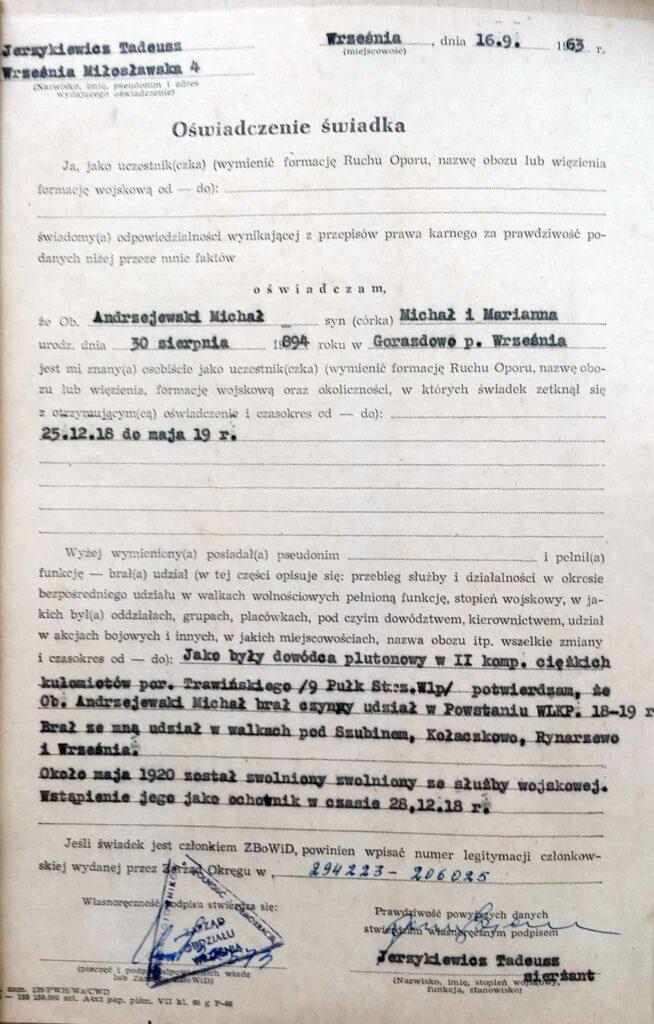 Michał Andrzejewski (dokument udostępnił Remigiusz Maćkowiak)