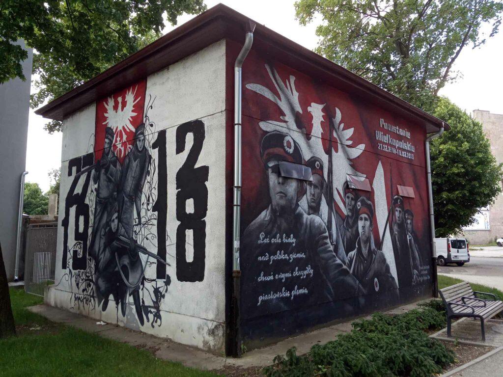Mural w Gnieźnie na skrzyżowaniu ulicy Wrzesińskiej i Witkowskiej