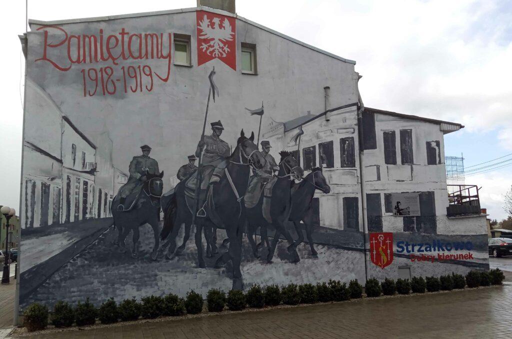 Mural w Strzałkowie przy ulicy Powstańców Wielkopolskich (autor Damian Jambroży)