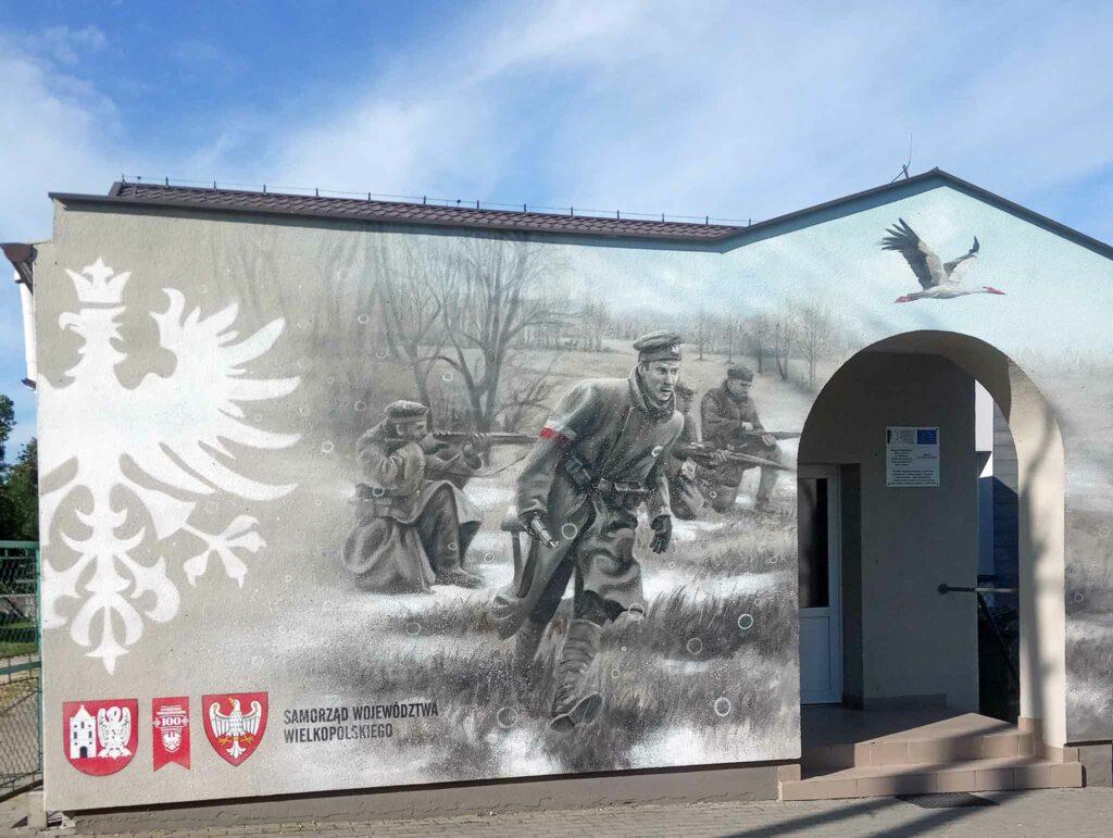 Mural na Wiejskim Domu Kultury w Pawłowie (autor Mariusz Brodowski)