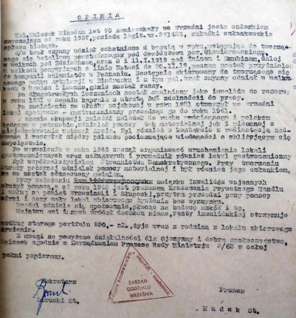 Nikodem Kulczak (dokument udostępnił Remigiusz Maćkowiak)