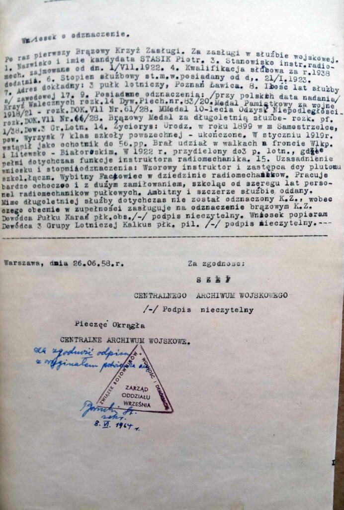 Piotr Stasik (dokument udostępnił Remigiusz Maćkowiak)