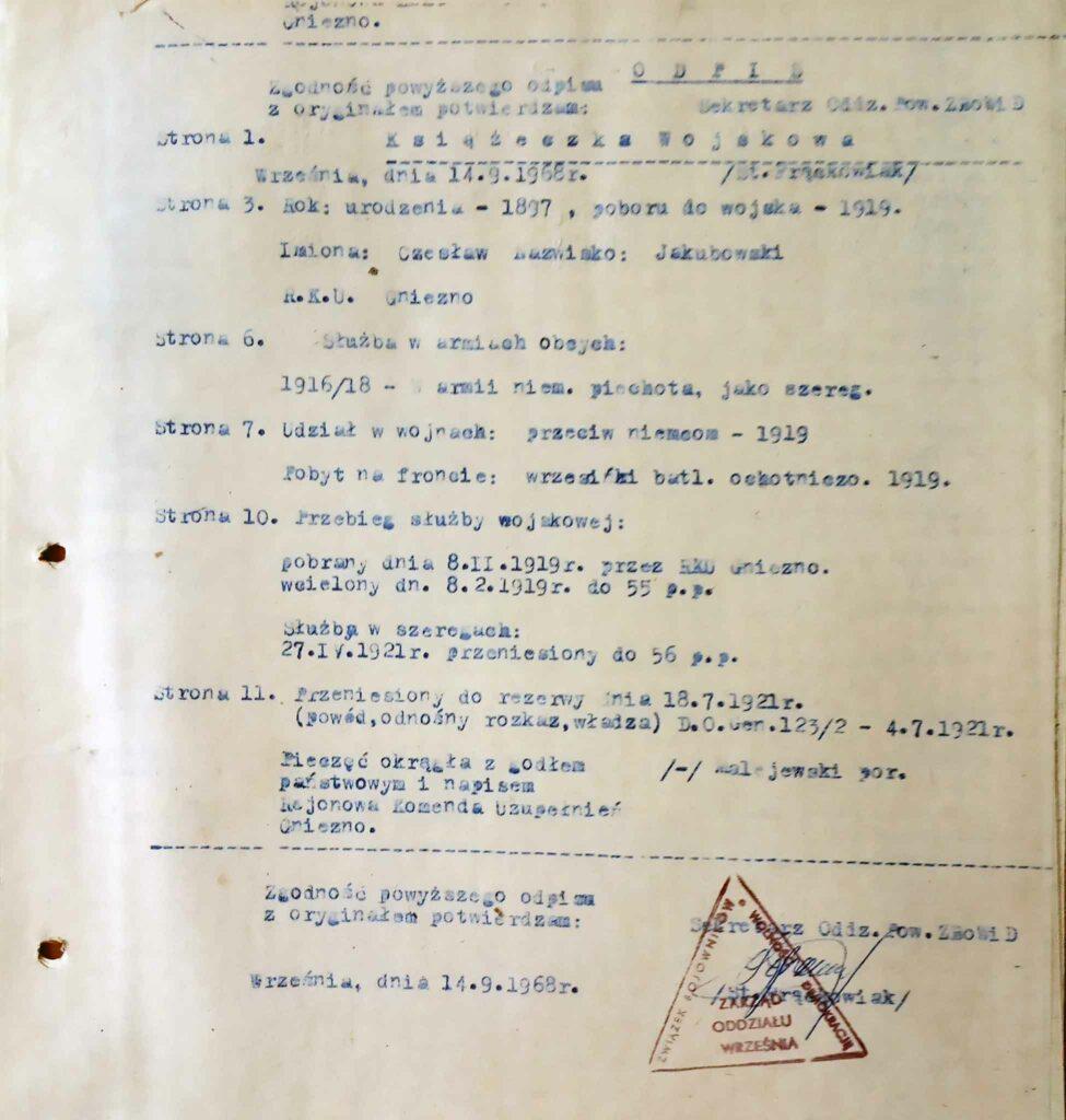 Czesław Jakubowski (dokument udostępnił Remigiusz Maćkowiak)