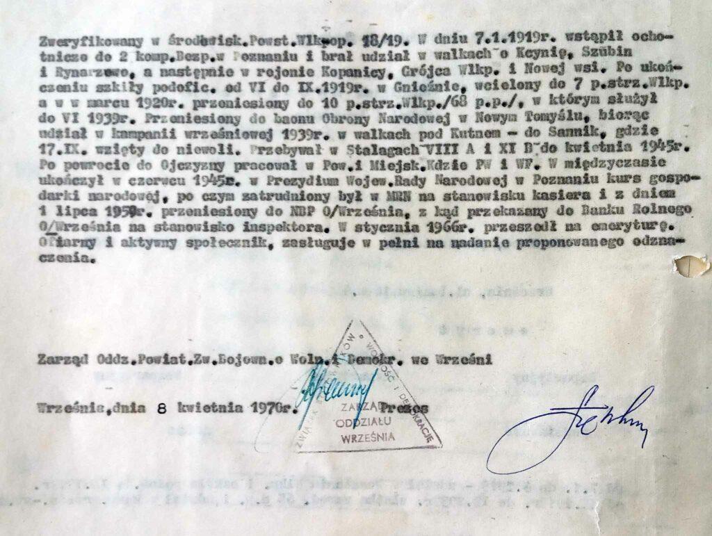 Franciszek Matuszczak (dokument udostępnił Remigiusz Maćkowiak)