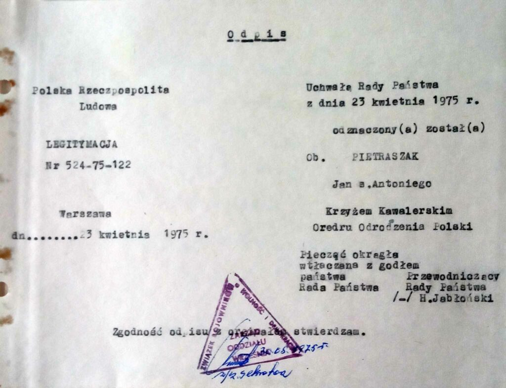 Jan Pietraszak (dokument udostępnił Remigiusz Maćkowiak)
