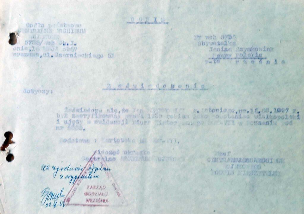 Jan Szymkowiak (dokument udostępnił Remigiusz Maćkowiak)