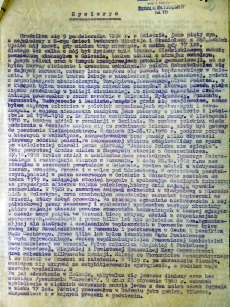 Karol Jankowski (dokument udostępnił Remigiusz Maćkowiak)