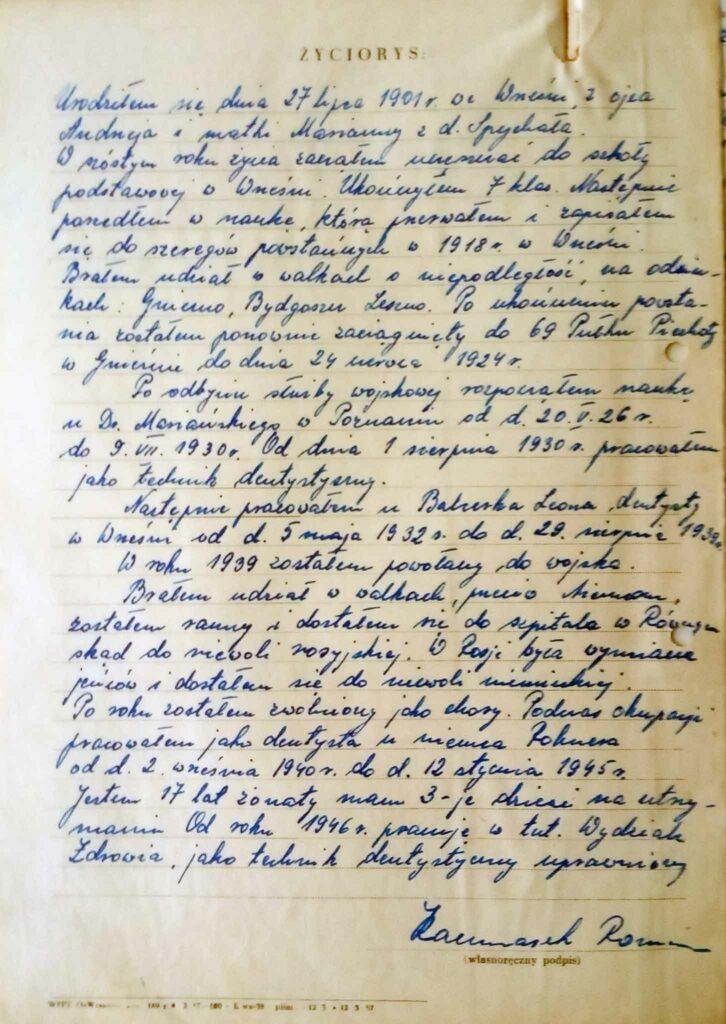 Roman Kaczmarek - życiorys (dokument udostępnił Remigiusz Maćkowiak)