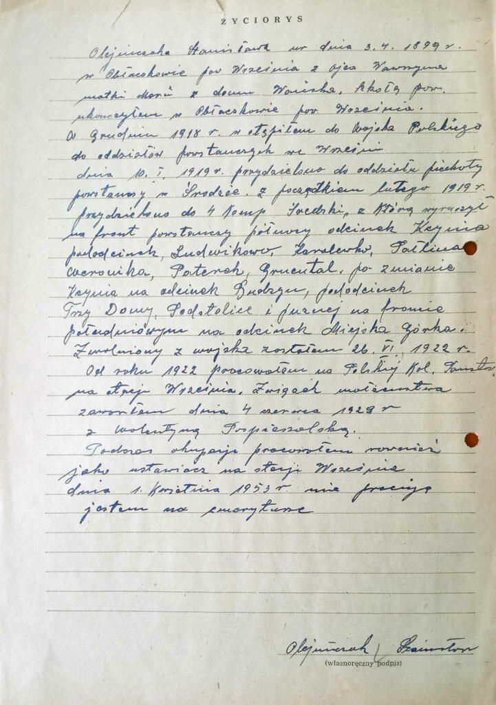 Stanisław Olejniczak - życiorys (dokument udostępnił Remigiusz Maćkowiak)