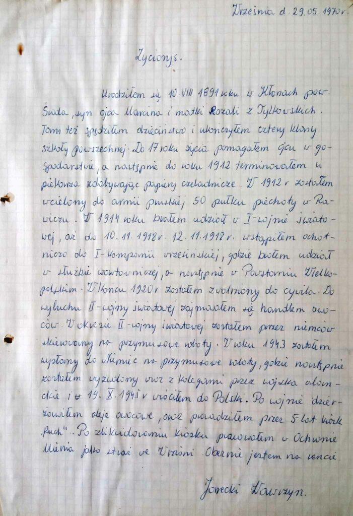 Wawrzyn Jarecki - życiorys (dokument udostępnił Remigiusz Maćkowiak)