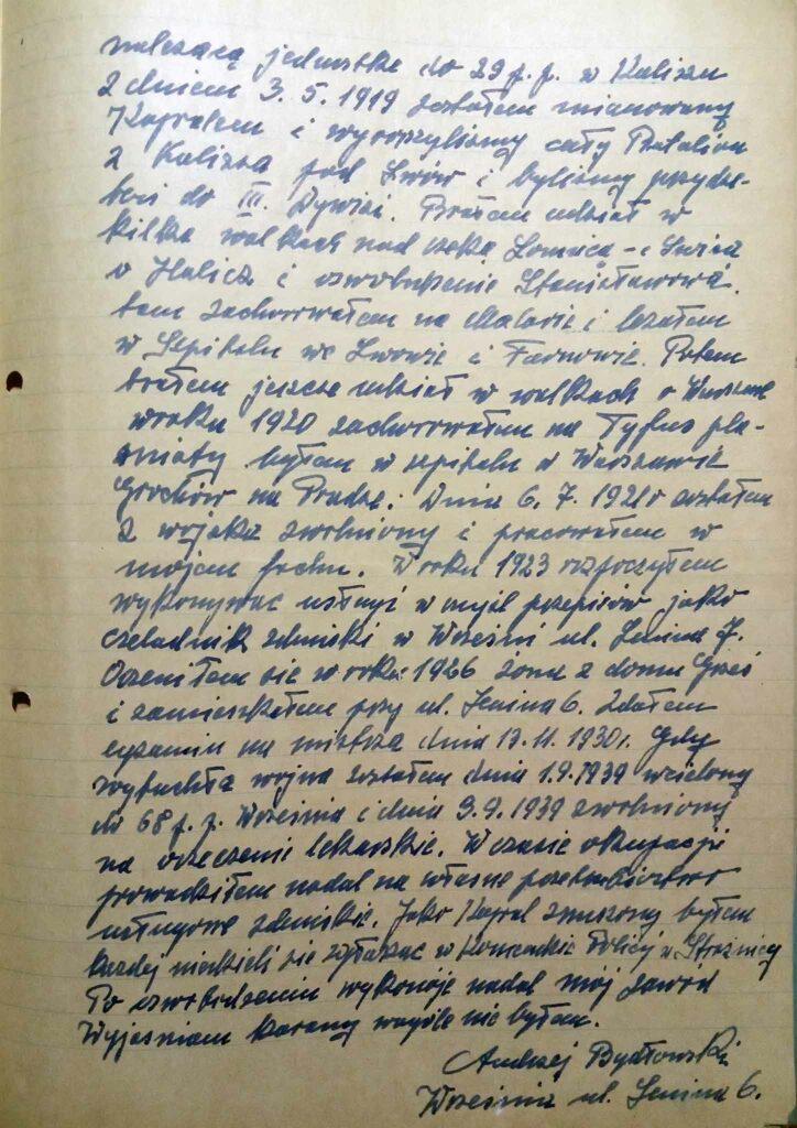 Andrzej Bydłowski (dokument udostępnił Remigiusz Maćkowiak)