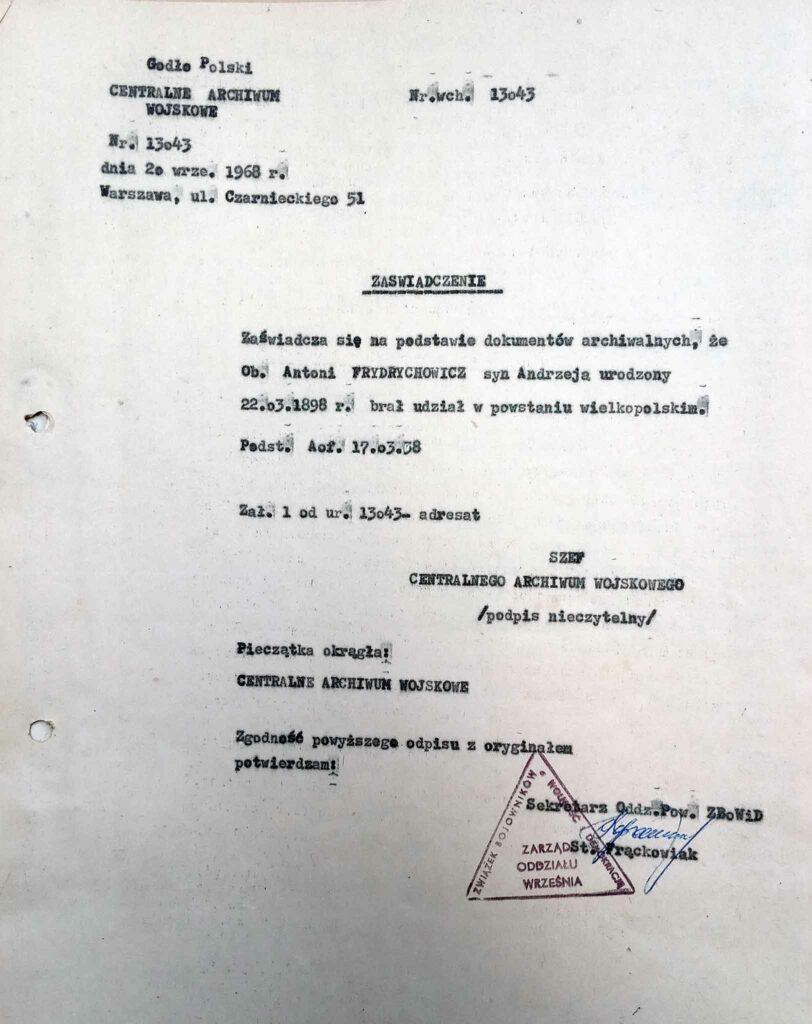 Antoni Frydrychowicz (dokument udostępnił Remigiusz Maćkowiak)