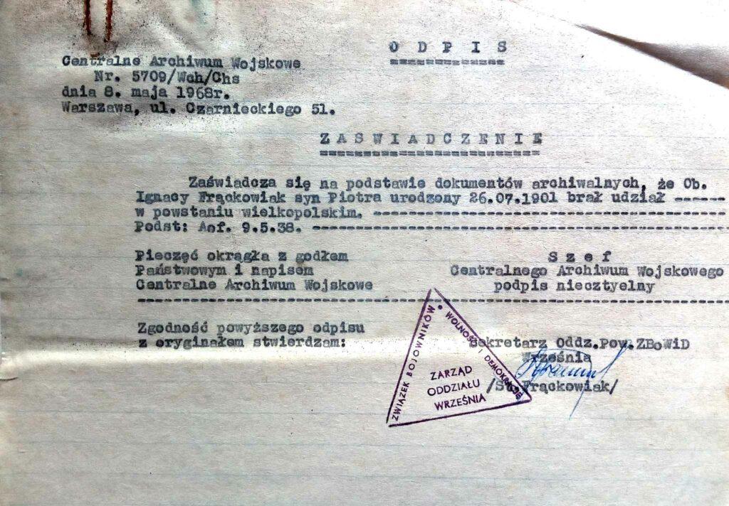 Ignacy Frąckowiak (dokument udostępnił Remigiusz Maćkowiak)