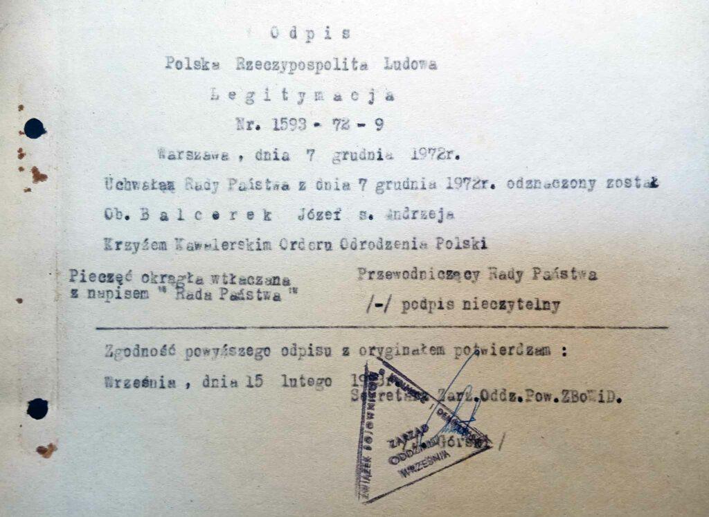Józef Balcerek (dokument udostępnił Remigiusz Maćkowiak)