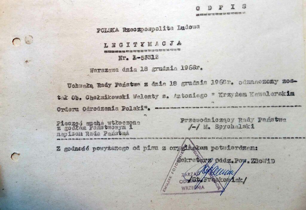 Walenty Chełmikowski (dokument udostępnił Remigiusz Maćkowiak)
