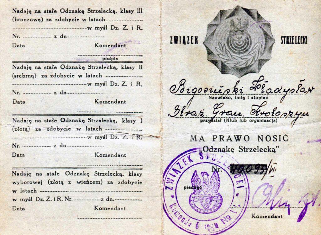 Władysław Bigosiński (dokument udostępnił Remigiusz Maćkowiak)