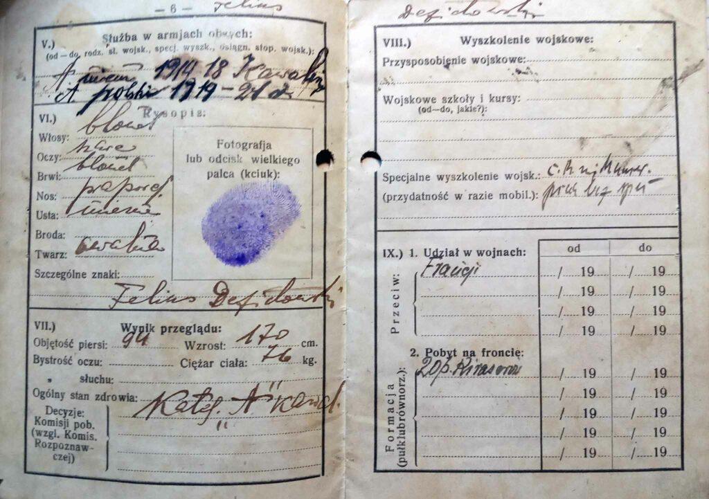Feliks Defitowski  - książeczka wojskowa (dokument udostępnił Remigiusz Maćkowiak)